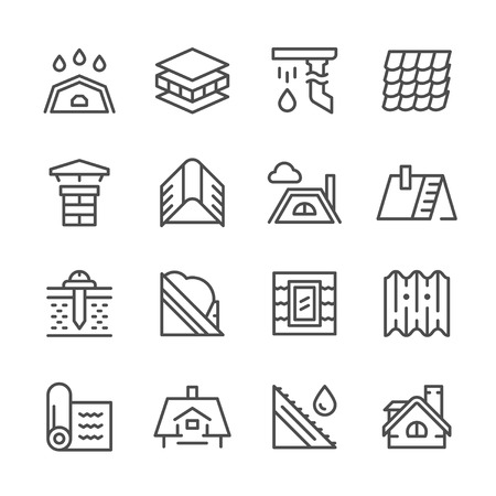 slate roof: Set line icons of roof isolated on white. Vector illustration Illustration