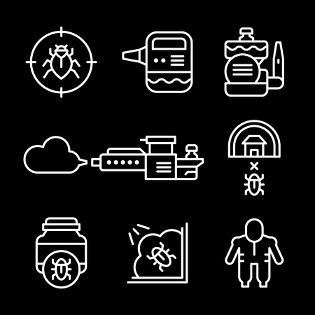 pest control equipment: Set line icons of disinfestations isolated on black. Vector illustration Illustration