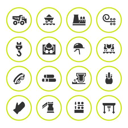 icônes rondes ensemble de la métallurgie, isolé, blanc. Vector illustration