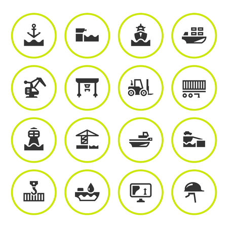Set round icons of seaport isolated on white. Vector illustration