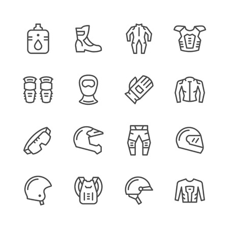 Set line icons of motorcycle equipment isolated on white. Vector illustration Ilustração