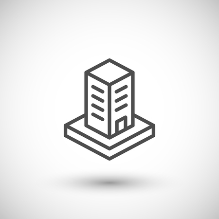 grey line: Skyscraper line icon isolated on grey.