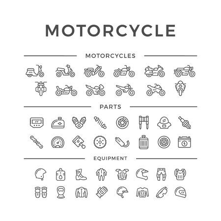 Conjunto de iconos relacionados con la línea de la motocicleta aislados en blanco. Ilustración del vector Ilustración de vector