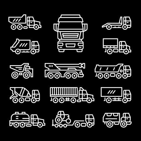 Set line icons of trucks isolated on black. Vector illustration
