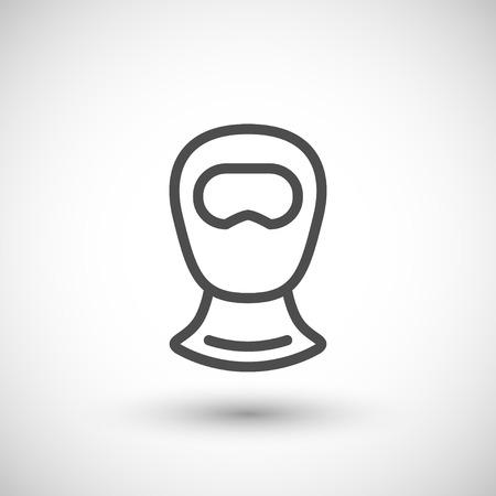 balaclava: Balaclava line icon isolated on grey. Vector illustration