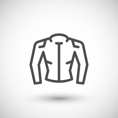 grey line: Motorcycle jacket line icon isolated on grey. Vector illustration