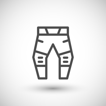 dirt bike: Motorcycle pants line icon isolated on grey. Vector illustration
