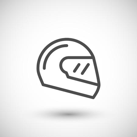 Modern motorcycle helmet line icon isolated on grey. Vector illustration Vector Illustration