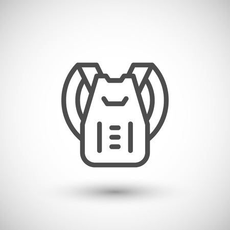grey line: Backpack line icon isolated on grey. Vector illustration Illustration