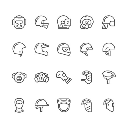 respirator: Set line icons of helmets and masks isolated on white. Vector illustration Illustration