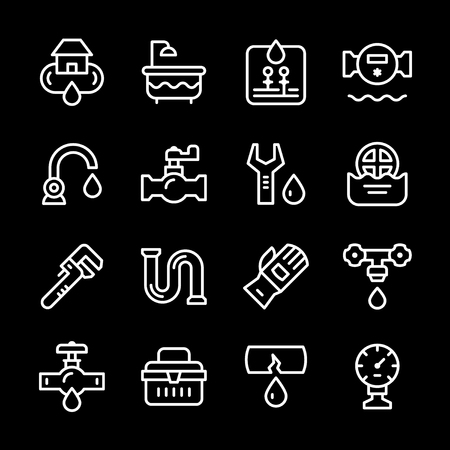 plumbing accessories: Set line icons of plumbing isolated on black. Vector illustration Illustration