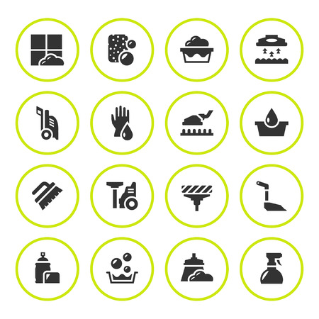 squeegee: Set round icons of cleaning isolated on white. Vector illustration