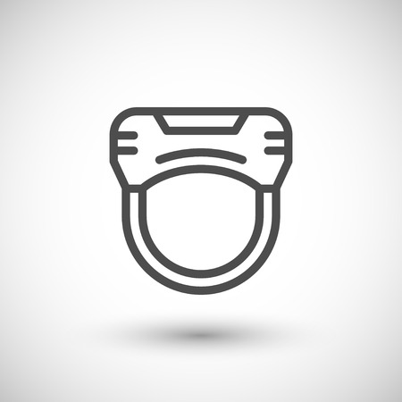 grey line: Virtual reality helmet line icon isolated on grey. Vector illustration