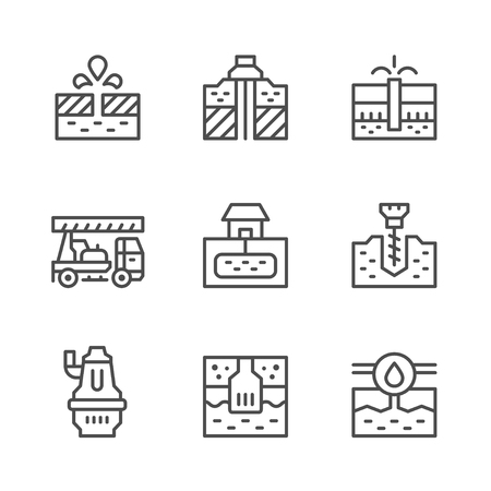 borehole: Set line icons of water bore isolated on white. Vector illustration