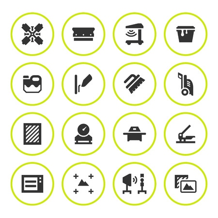 screen printing: Set round icons of screen printing isolated on white. Vector illustration Illustration