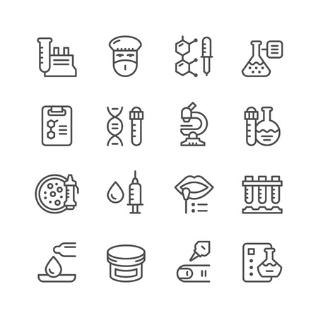 medical icons: Set line icons of medical analysis isolated on white. Vector illustration