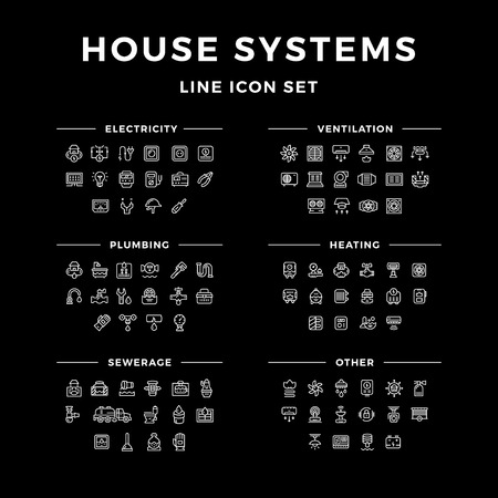 heat pump: Set line icons of house systems isolated on black. Vector illustration Illustration