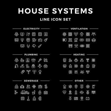 Set lijn iconen van house systemen geïsoleerd op zwart. vector illustratie