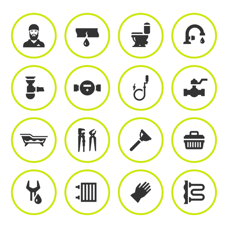 accessory: Set round icons of plumbing isolated on white. Vector illustration