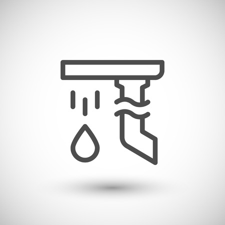 roof construction: Gutter line icon isolated on grey. Vector illustration