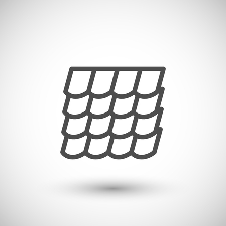roof line: Roof tile line icon isolated on grey. Vector illustration