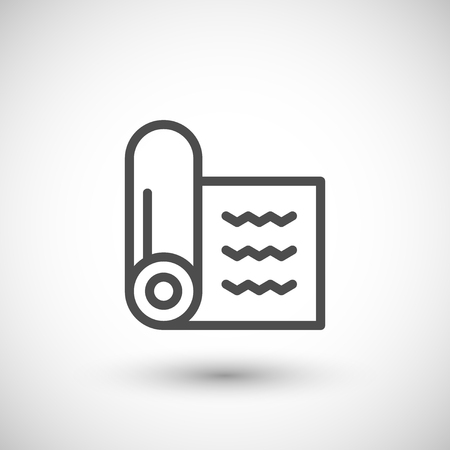 insulation: Insulation roll line icon isolated on grey. Vector illustration