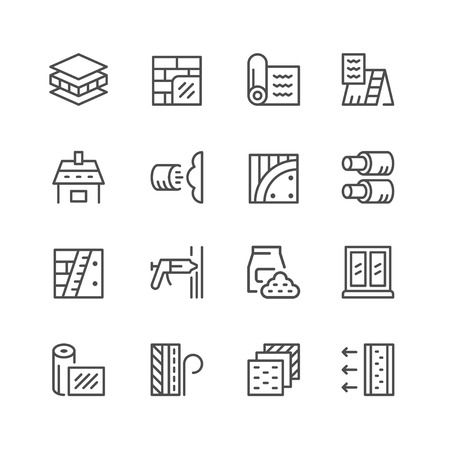 Set line icons of insulation isolated on white. Vector illustration Иллюстрация