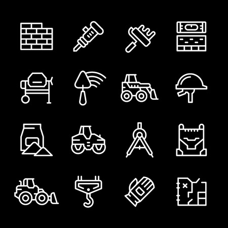 constructing: Set line icons of constructing industry