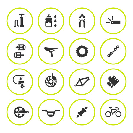 component: Set round icons of bicycle parts and accessories Illustration