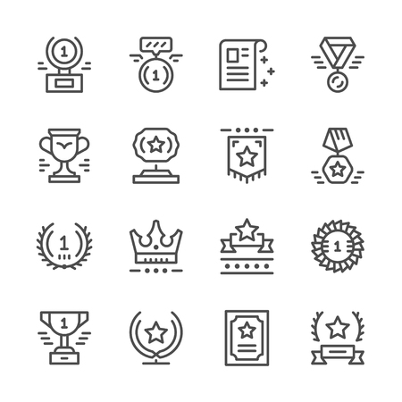 Set line icons of award Vectores