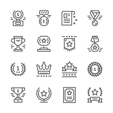 premios: Establecer iconos de línea de premio Vectores