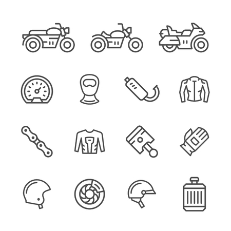 balaclava: Set of motorcycle related line icons