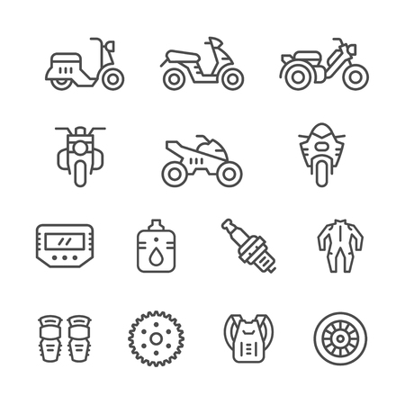 apparel part: Set of motorcycle related line icons