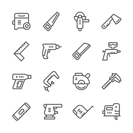 tools icon: Set line icons of electric and hand tool Illustration