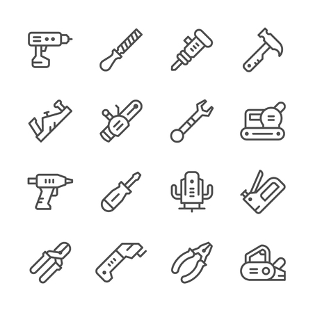 sander: Set line icons of electric and hand tool Illustration