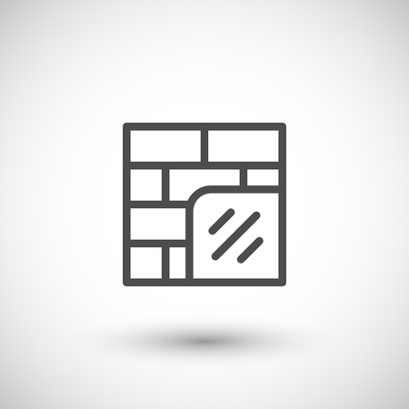 insulate: Wall insulation line icon Illustration