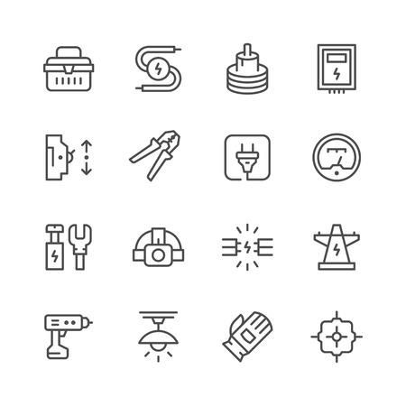 Set line icons of electricity Stock Illustratie