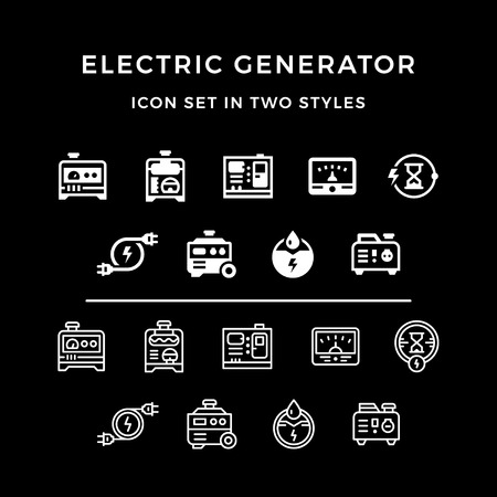 standby: Set icons of electrical generator Illustration