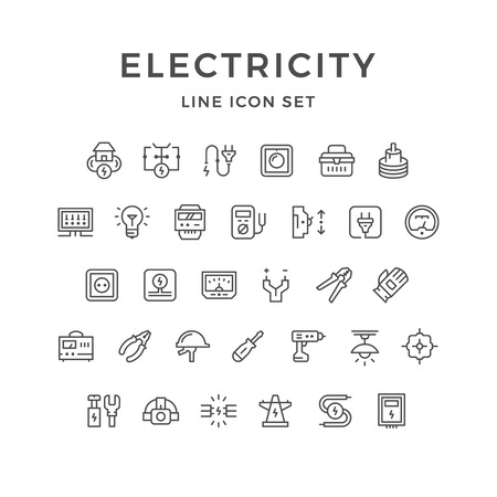 dimmer: Set line icons of electricity isolated on white. Vector illustration