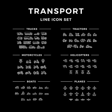 transport icons: Set line icons of transport