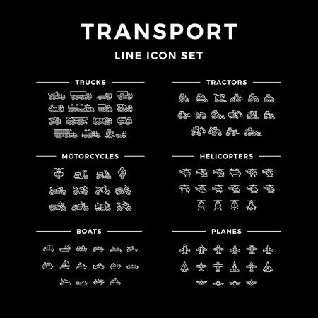Stel lijn iconen van het transport