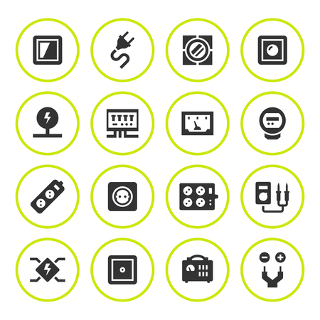 dimmer: Set round icons of electricity Illustration