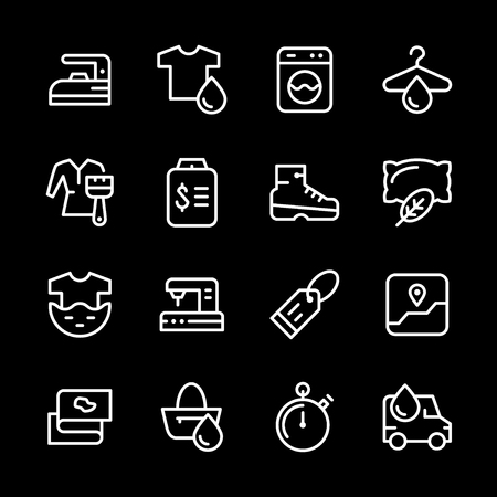 bleach: Set line icons of laundry Illustration