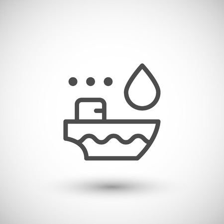tanker ship: Tanker ship line icon isolated on grey. Vector illustration
