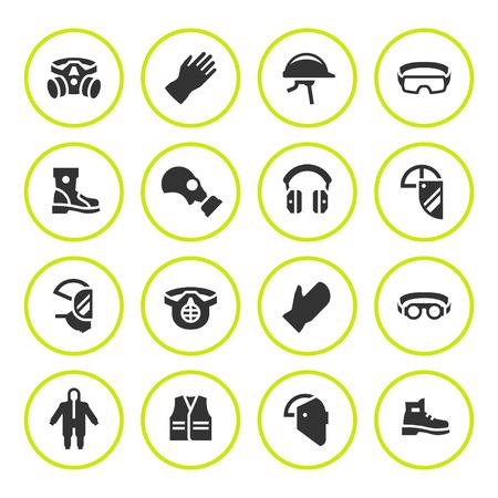 Fije los iconos redondos de equipo de protección personal Foto de archivo - 72038183