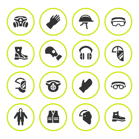 Zet ronde pictogrammen van persoonlijke beschermende uitrusting Stock Illustratie