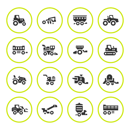 auger: Set round icons of agricultural machinery