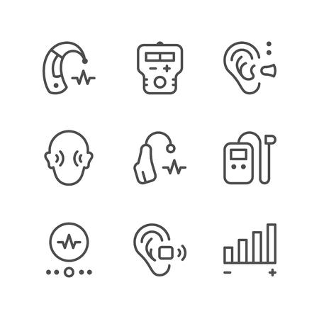 Stel lijn iconen van gehoorapparaat Stockfoto - 73326674