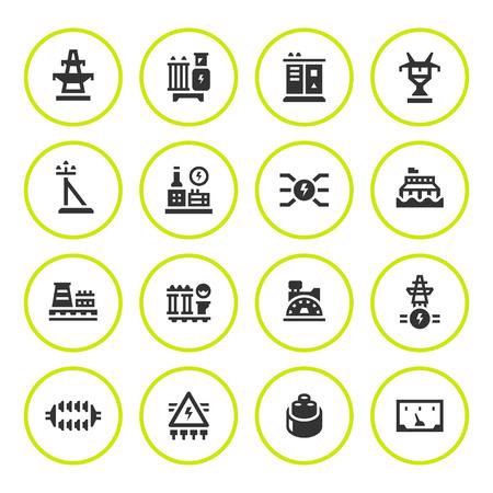 electricidad industrial: Conjunto de iconos de la industria de la energía