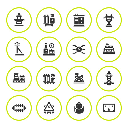 power industry: Set round icons of power industry Illustration
